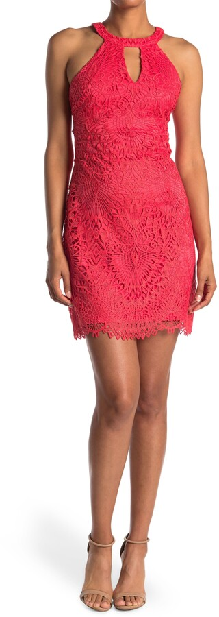 Thumbnail for your product : GUESS Keyhole Sleeveless Lace Mini Dress