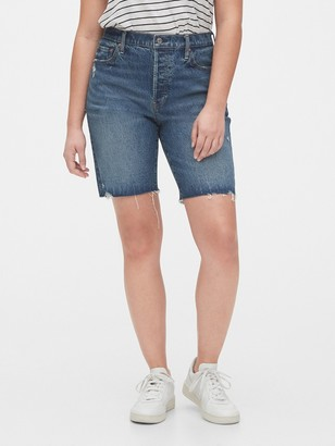 Gap High Rise Distressed Denim Bermuda Shorts