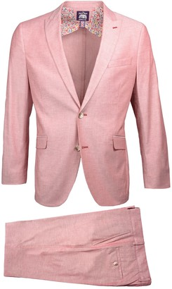 Savile Row Co Red Slim Fit Chambray Peak Lapel Suit
