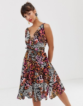 And other stories & skater tie waist dress in feather print