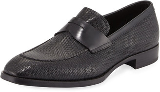 Giorgio Armani Textured Leather Penny Loafer, Navy