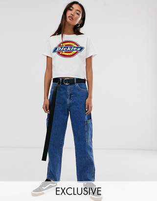 Dickies crop tshirt with horseshoe logo-White