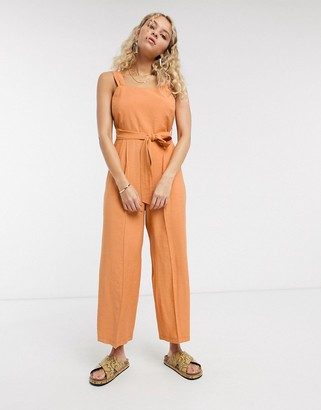 Topshop linen jumpsuit with tie waist in apricot