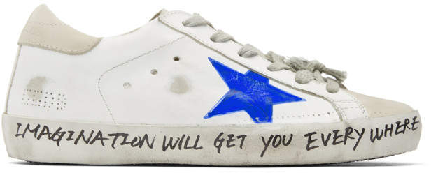 Golden Goose White and Grey Scribble Skate Superstar Sneakers
