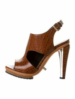 Rodarte Embossed Leather Wedge Sandals w/ Tags Brown