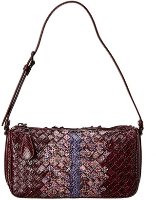 Bottega Veneta Intrecciato Snakeskin Shoulder Bag