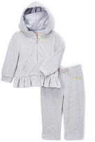 Juicy Couture Gray Ruffle-Hem Hoodie & Sweatpants - Infant Toddler & Girls