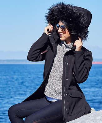 Canada Weather Gear Women's Anoraks & Parkas Black - Black Faux Fur-Trim Funnel Collar Jacket - Women