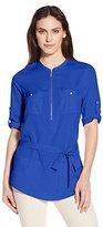 Calvin Klein Women's Tunic Roll Sleeve Blouse