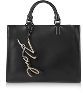 Karl Lagerfeld K/Metal Signature Black Leather Shopper Bag