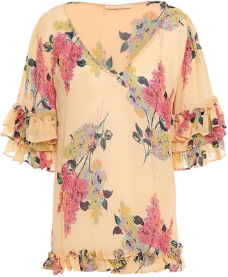 By Ti Mo Ruffle-trimmed Floral-print Crepe Blouse
