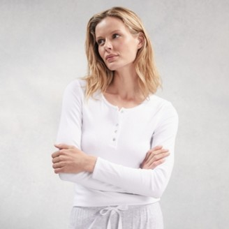The White Company Ribbed Henley Pyjama Top, White, Extra Small