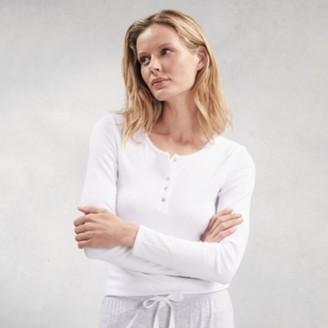 The White Company Ribbed Henley Pyjama Top, White, Medium