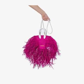 Jacquemus pink Le petit Baci fringed raffia mini bag