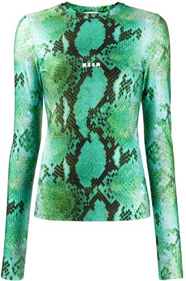 MSGM Snake Print Knitted Top