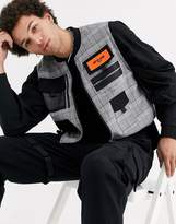 Sixth June checked cropped utility vest in black