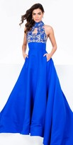 Terani Couture Halter Keyhole Embroidered Ball Gown