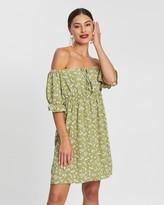 boohoo Woven Ditsy Floral Shirred Waist Bardot Mini Dress