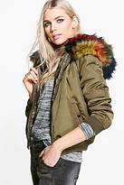 Boohoo Brooke Multicoloured Faux Fur Hooded Bomber