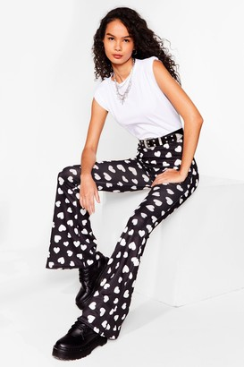 Nasty Gal Womens Heart to Heart High-Waisted Flare Trousers - Black - 6