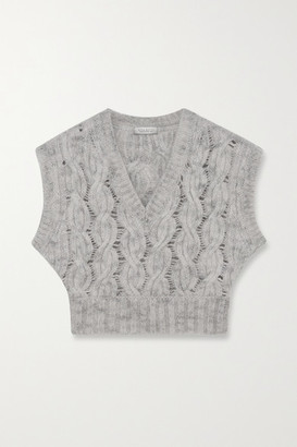 Nina Ricci Cropped Cable-knit Mohair-blend Vest - Stone