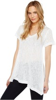 Nally & Millie - Short Sleeve V-Neck Sharkbite Tunic Women's Short Sleeve Pullover