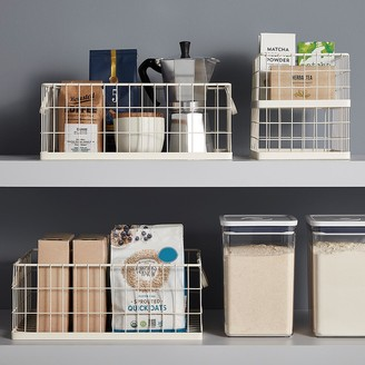 Container Store White Stacking Wire Bins