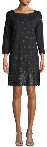 Joan Vass Petite Sequined-Front 3/4-Sleeve Dress