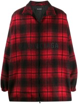 Balenciaga flannel zip-up logo jacket