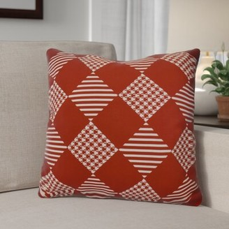 "Decorative Geometric Throw Pillow The Holiday Aisle Size: 16"" H x 16"" W, Color: Red"
