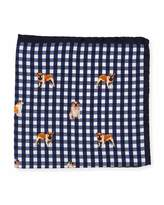 Eton Bulldog-Print Gingham Pocket Square