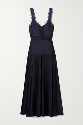 La Ligne Maggie Lace-trimmed Silk-georgette Maxi Dress - Midnight blue