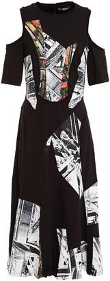 Alexander McQueen Cold-shoulder Printed Cotton-jersey Midi Dress