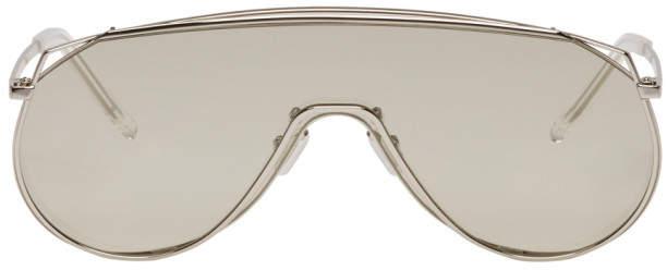 Gentle Monster Silver Afix Shield Sunglasses