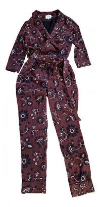 Sézane Sezane Burgundy Silk Jumpsuits
