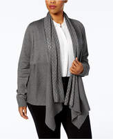 Karen Scott Plus Size Pointelle-Collar Draped Cardigan, Created for Macy's