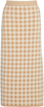 Altuzarra Billie Gingham Knit Midi Skirt