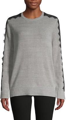 BCBGMAXAZRIA Lace-Trim Cotton-Blend Sweater