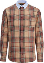 Tartan Shirting Wool Clarendon Shirt In Camel