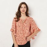 Lauren Conrad Women's Print Ruffle Top