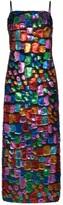 Taller Marmo Mahogany metallic patchwork maxi dress