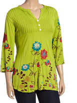Green Floral Three-Quarter Sleeve Tee - Plus