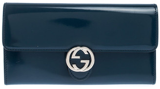 Gucci Dark Teal Patent Leather GG Icon Continental Wallet