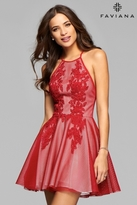 Faviana 7874 Mesh Halter Cocktail Dress With Lace Applique And Full Skirt