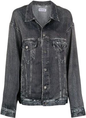 Balenciaga Oversized Denim Print Jacket