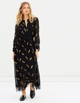 The Kooples Long Sleeve Dress With Lace Stripe Details
