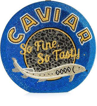 Judith Leiber Couture Caviar Disc Crystal Crossbody Clutch Bag