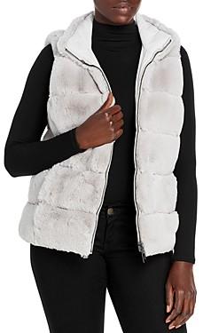 Via Spiga Reversible Grooved Faux Fur Vest