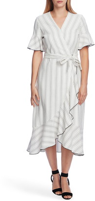 Vince Camuto Flutter Sleeve Wrap Midi Dress