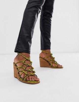 ASOS DESIGN Zoe wedge sandals in green snake